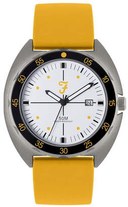 Farah Men the Sport Collection Yellow Silicone Strap Watch 43mm