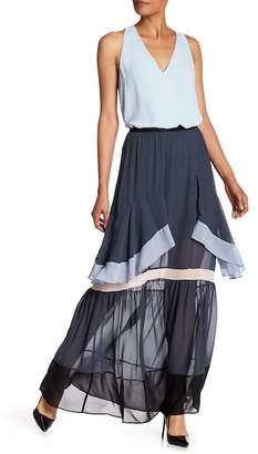 BCBGMAXAZRIA Pleated Colorblock Maxi Skirt