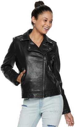 Steve Madden Nyc NYC Juniors' Faux-Leather Moto Jacket