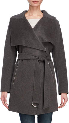 Karen Millen Charcoal Belted Wool Wrap Coat