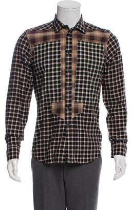 Givenchy Plaid Patchwork Button-Up brown Plaid Patchwork Button-Up
