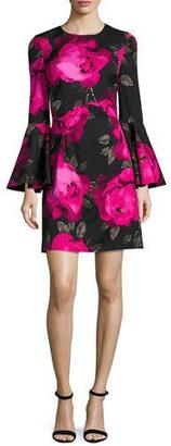 Trina Turk Fosse Bell-Sleeve Floral Faille Cocktail Dress, Multicolor $378 thestylecure.com