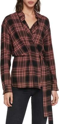 AllSaints Miki Plaid Wrap Shirt