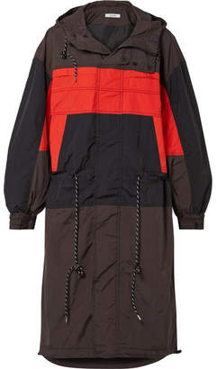Ganni Faust Hooded Color-block Shell Jacket - Black