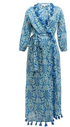 Rhode Resort Lena Tassel Trimmed Floral Print Cotton Dress - Womens - Blue Print