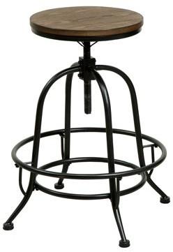Furniture of America Bosh Industrial Counter Height Dining Stool, Medium Oak