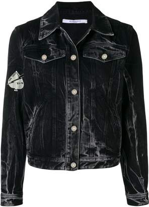 Givenchy Creatures print stonewashed denim jacket