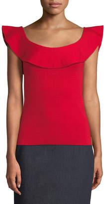 Elie Tahari Shaelynn Ruffled-Trim Sleeveless Sweater