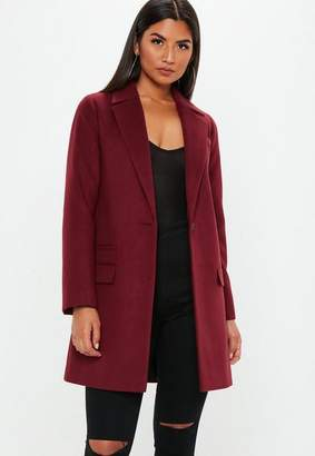 Missguided Burgundy Button Front Slim Coat