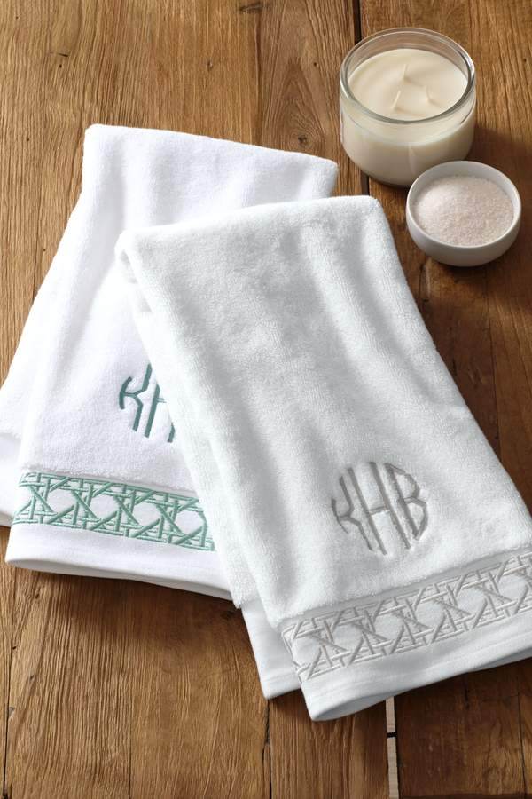 Lands'end Turkish Cane Weave Embroidered Hand Towel