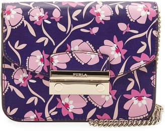 Furla Julia Mini Floral-Print Saffiano Leather Crossbody Bag