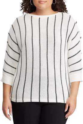 Chaps Plus Striped Three-Quarter-Sleeve Linen Cotton Blend Sweater