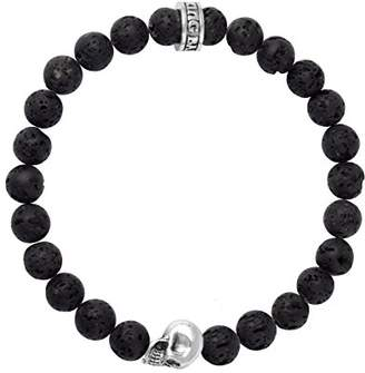 King Baby Studio Unisex 925 Sterling Silver Skull and 8mm Black Lava Rock Bead Bracelet of 22.22 cm