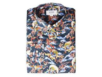 Eton Slim Fit Japenese God of Wind Print Button Down Shirt