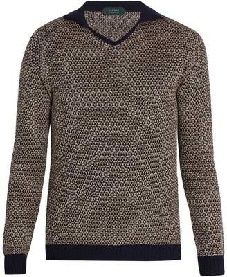 Zanone Open-neck marl-weave sweater