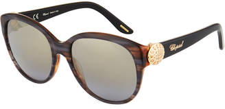 Chopard Rounded Contrast Patterned Acetate Sunglasses