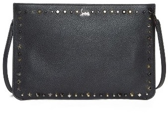 Christian Louboutin  Christian Louboutin Loubiclutch Spiked Leather Clutch - Black