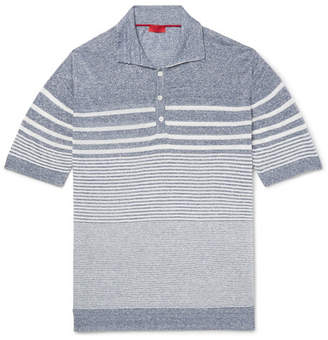 Isaia Striped Mélange Linen And Cotton-blend Polo Shirt