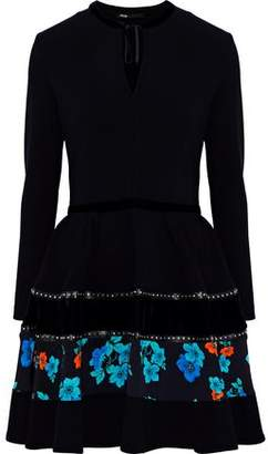 Maje Rafa Embellished Velvet And Floral Print-Paneled Crepe Mini Dress