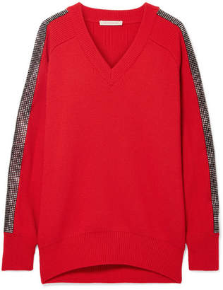 Christopher Kane Crystal-embellished Wool Sweater - Red