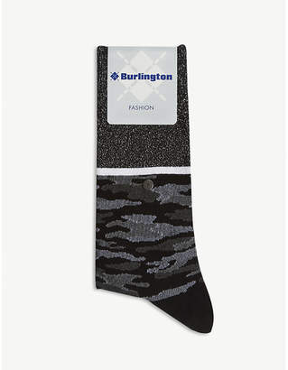 Burlington Glitter camouflage cotton-blend socks