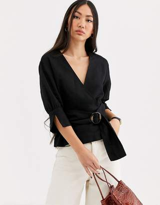 And other stories & belted linen blend blouse in black