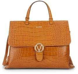 Mario Valentino Crocodile Embossed Leather Top Handle Bag