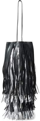 Calvin Klein Fringed Matte And Metallic Leather Bucket Bag