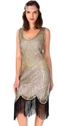 Uniq Sense xs-3xl Women's Roaring 20s V-Neck Gatsby Dresses- Vintage Inpired Sequin Beaded Flapper Dresses (, L)