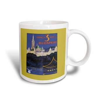 3dRose Vintage Budapest Travel poster Night on the Water with Lights, Ceramic Mug, 15-ounce