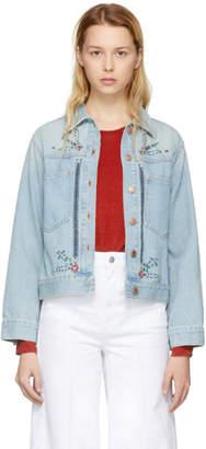 Etoile Isabel Marant Blue Cabella Embroidered Denim Jacket