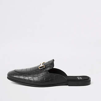 River Island Black croc leather snaffle backless loafers
