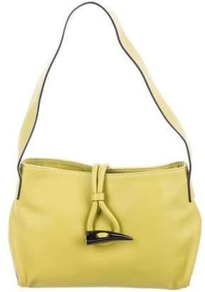 Burberry Haymarket Check-Trimmed Leather Shoulder Bag