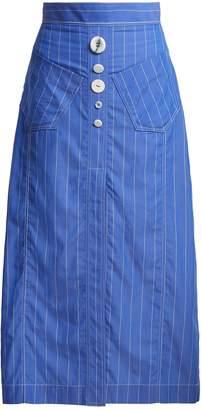 Aggie striped cotton midi skirt