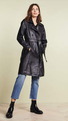 Blank Vegan Leather Trench Coat