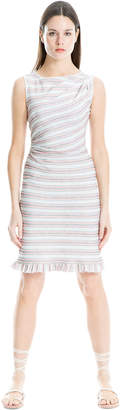 Max Studio zig zag striped jersey ruffled dress