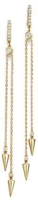 KC Designs Diamond Spike Drop Earrings in 14K Yellow Gold