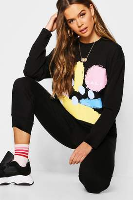 boohoo Abstract Print Long Sleeve T-Shirt