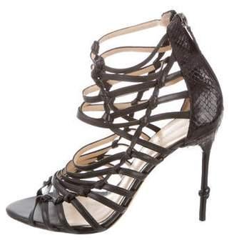 Alexandre Birman Snakeskin Strappy Sandals
