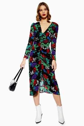 Topshop Raven Floral Print Midi Bodycon Dress