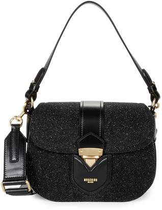Moschino Glitter & Leather Convertible Crossbody Shoulder Bag