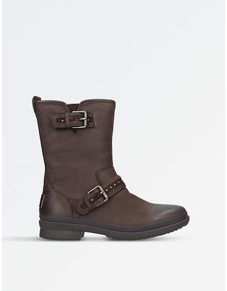UGG Ladies Dark Brown Waterproof Jenise Leather Rain Boots
