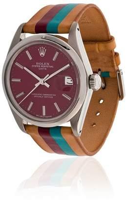 Rolex La Californienne 34MM Striped Leather Band Wrist Watch
