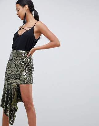 Asos DESIGN asymmetric hem embellished midi skirt