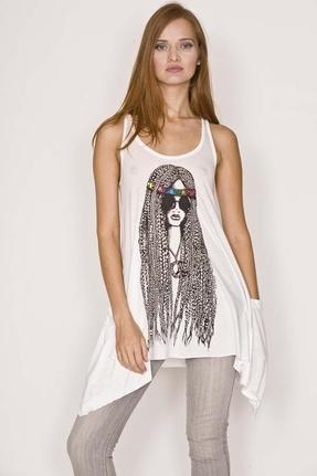 Lauren Moshi Hippie Girl Swing Pocket Tank in White