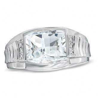 Zales Men's Barrel-Cut White Topaz and Diamond Accent Ring in Sterling Silver