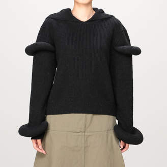 J.W.Anderson (J.W.アンダーソン) - J.W.アンダーソン RIB KNIT HOODIE WITH SLEEVES PUFF