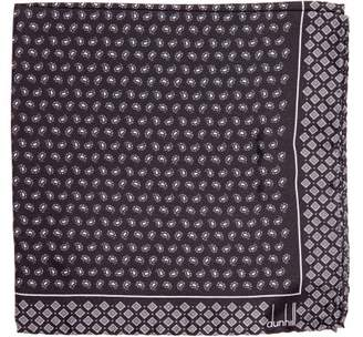 Dunhill Paisley Print Silk Pocket Square - Mens - Grey