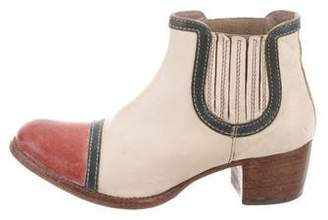 Moma Leather Colorblock Ankle Boots