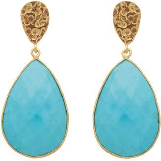 Carousel Jewels - Double Drop Turquoise & Golden Nugget Earrings
